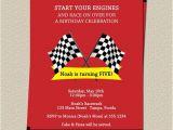 Race Car themed Birthday Invitations Race Track Birthday Party Invitations Boys Red