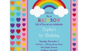 Rainbow Birthday Invitation Template Rainbow 1st Birthday Invitation Zazzle Com