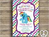 Rainbow Dash Party Invitations Rainbow Dash 5×7 Printable Birthday Invitation