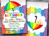 Rainbow themed Baby Shower Invitations Rainbow Baby Announcement Cards Baby Shower Invites