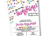 Rainbow themed Baby Shower Invitations Rainbow Baby Shower Invitation Hearts Dots Confetti You