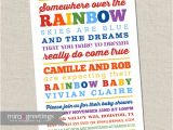 Rainbow themed Baby Shower Invitations Rainbow Baby Shower Invitation somewhere Over the