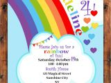 Rainbow themed Baby Shower Invitations Rainbow Hearts Birthday Invitation Rainbow Celebration