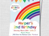 Rainbow themed Birthday Party Invitations Colorful Rainbow Birthday Party Invitation Rainbow themed