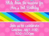Rainbow themed Birthday Party Invitations Party Invitations Awesome Rainbow Party Invitations