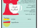 Recipe Bridal Shower Invitations Wording Kitchen Party Invitation with Perforated Recipe Card