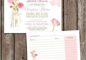 Recipe themed Bridal Shower Invitations Sale Digital Printable Mason Jar Bridal Shower