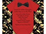 Red and Black Baby Shower Invitations Elegant Red Black and Gold Baby Boy Shower Card