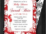 Red and Black Baby Shower Invitations Red & Black Baby Shower Invitation Personalized Red and