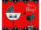 Red and Black Baby Shower Invitations Red and Black Train Baby Boy Shower Invitation