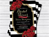 Red and Black Bridal Shower Invitations Bridal Shower Invitation Red Rose Black White Stripe Gold