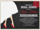Red and Black Bridal Shower Invitations Bridal Shower Invitation with Wedding Dress Hem & High