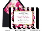 Red and Black Bridal Shower Invitations Brunch & Bubbly Invitation Bridal Shower Invite Black White
