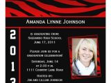 Red and Black Graduation Invitations Red and Black Zebra Print Graduation Invitation Zazzle
