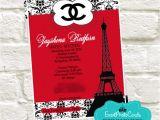 Red and Black Quinceanera Invitations Paris Chanel Quinceanera Invites Fashion Couture Red Black