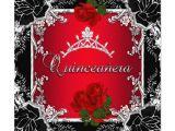 Red and Black Quinceanera Invitations Quinceanera 15th Red Black Gold Diamond Tiara Custom