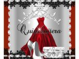Red and Black Quinceanera Invitations Quinceanera 15th Red Black Silver Diamond Tiara 5 25×5 25