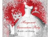 Red and Black Quinceanera Invitations Quinceanera Masquerade Red White Snowflakes 5 25×5 25