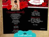 Red and Black Quinceanera Invitations Red Roses Silver Black Quinceanera Invites Photo Invites