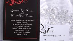 Red and Black Wedding Invitations Cheap Elegant Damask Red and Black Wedding Invitations Ewi020 as