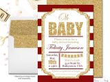 Red and Gold Baby Shower Invitations Red and Gold Baby Shower Invitation Girls Baby Shower Invite