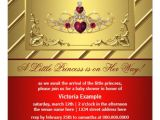 """Red and Gold Baby Shower Invitations Red and Gold Princess Baby Shower 5 25"""" Square Invitation"""