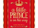 Red and Gold Baby Shower Invitations Royal Red Gold Prince is On His Way Baby Shower Invitation
