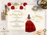 Red and Gold Quinceanera Invitations Gold Red Quinceanera Invitation Quinceanera Invitation