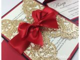 Red and Gold Quinceanera Invitations Queens Of Heart Sweet Sixteen Invitations