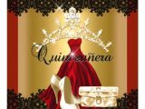 Red and Gold Quinceanera Invitations Quinceanera 15th Red Black Gold Diamond Tiara Card Zazzle