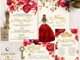 Red and Gold Quinceanera Invitations Red and Gold Quinceanera Invitation Quinceanera Invitation