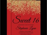 Red and Gold Quinceanera Invitations Red Gold Faux Glitter Sparkle Sweet 16 Birthday Party