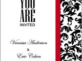 Red and White Wedding Invitation Templates Wedding Invitation Wording Black White and Red Wedding