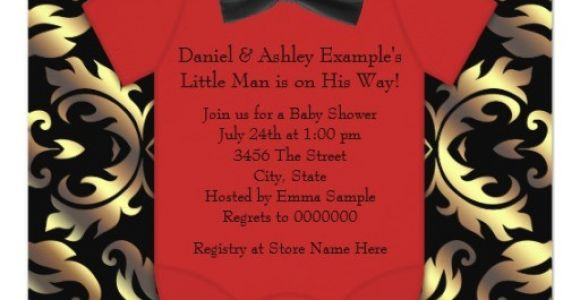 Red Black and Gold Baby Shower Invitations Elegant Red Black and Gold Baby Boy Shower Invitation