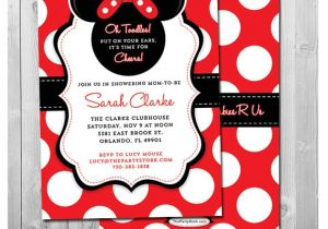 Red Black and White Baby Shower Invitations Minnie Mouse Baby Shower Invitation