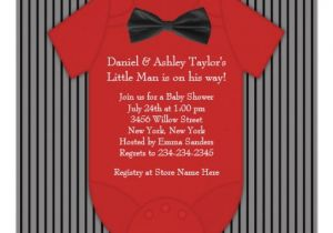 """Red Black and White Baby Shower Invitations Red and Black Pinstripe Baby Shower 5 25"""" Square"""