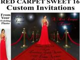 Red Carpet theme Party Invitations Red Carpet Invitations Sweet 16 Birthday Bridal Shower Custom