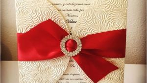 Red Ivory and Gold Wedding Invitations Ivory Red and Gold Wedding Invitation Rhinestone Buckle