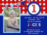 Red White and Blue 1st Birthday Invitations 4th Of July Birthday Invitation Red White and Blue Birthday