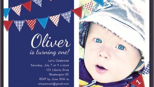 Red White and Blue 1st Birthday Invitations 4th Of July Red White and Blue Birthday Invitation Bunting