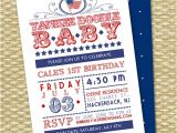 Red White and Blue 1st Birthday Invitations July 4th First Birthday Invitation Red White and Blue Yankee