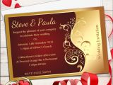Red White and Gold Wedding Invitations 10 Personalised Red Gold Wedding Invitations Day evening N25