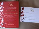 Red White and Gold Wedding Invitations Red and Gold Rose Vine Swirl Wedding Stationery Emdotzee
