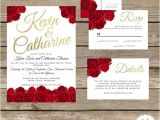 Red White and Gold Wedding Invitations Red Rose Wedding Invitation Suite Red Black and Gold Red