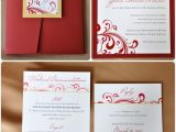 Red White and Gold Wedding Invitations Red Swirl with Gold Accents Pocketfold Wedding