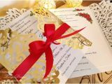 Red White and Gold Wedding Invitations Roses and Gold Foil Wedding Invitation White Gold and Red