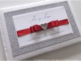 Red White and Silver Wedding Invitations Silver Glitter Wedding Invitations with Red Ribbon
