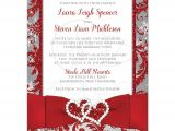 Red White and Silver Wedding Invitations Wedding Invitation Photo Optional Winter Wonderland