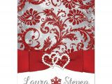 Red White and Silver Wedding Invitations Wedding Invitation Winter Wonderland Red Silver