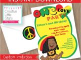 Reggae themed Party Invitations Reggae One Love Invitation Editable Instant Download